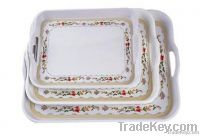 Rectangular Melamine Serving Tray Set_3 sizes, Decal Available