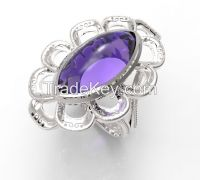 925 Sterling Silver Women's Carve Rope Wavy Ring with Amethyst Bead Stone in Varies Color
