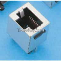 Top Entry CAT3 PCB Jack, 8P8C DIP Type, without Panel Stop (Shielded) Black Insulator