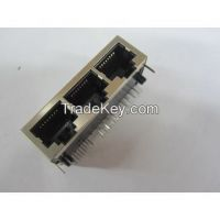 RJ45 Jacks, Side Entry Shield PCB Type 3 Ports, No EMI and LED