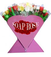 Scented soap rose/soap flower with stem in stand/valentine's gift