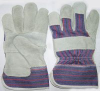 Work Gloves, Ladies Leather Palm Gloves with Knit Wrist