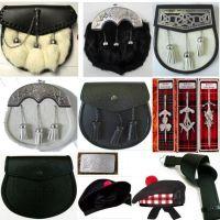 Scottish Kilt belt, Buckle, Sporran, Pins and Hats