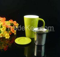 Ceramic stoneware tea mug with SS infuser