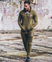Men's Tracksuit Zip Up hoodies Super Skinny Joggers New Model 2017 Khaki Greens.
