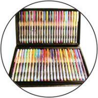 gel ink pen and water color pen, mechanical pencil