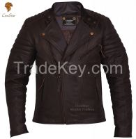 LionStar Brando Men's Real Leather Motorbike Jacket