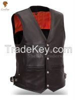 LionStar Stylish Cowboy / Biker Leather Vest For Men and Women