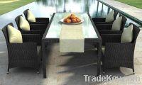 PE Rattan / Wicker indoor outdoor dining table chair furniture set
