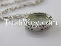 Glass Locket, Jewelry Shadow Box Pendants, Floating Charm Lockets, Round Floating Locket, Living locket,