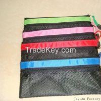 pvc grid zipper bag mesh bag