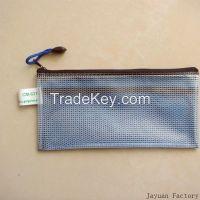 pen pencil pvc grid zipper bag mesh bag