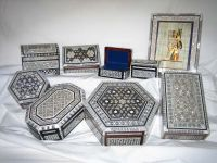 Egyptian Mother of Pearl Inlaid Jewelry Boxes