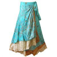 Silk Sari Reversable two layer wrap around Skirt