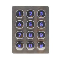 Waterproof Style 12keys backlight  USB/PS/2 Interface Type industrial  matrix security keypad for fuel dispenser