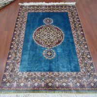 4x6 Blue Handmade Hand Knotted Oriental Persian Silk Rugs 240Lines Chinese Manufacturers