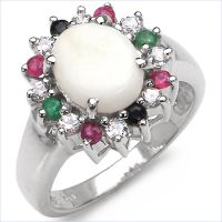 Sophisticated 2.45CTW Genuine Multi. Stone .925 Sterling Silver Ring
