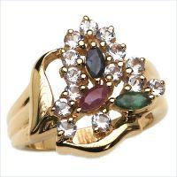 10 Karat Solid Yellow Gold 1.59CTW Genuine MultiStone Ring