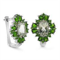 5.64CTW Genuine Green Amethyst & Chrome Diopside .925 Sterling Silver Earrings
