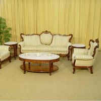 Sofa set w/ side tables & coffee table in French style