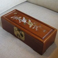 Wooden jewelry box w/ mother of pearl inlaid