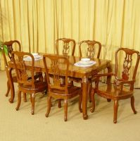 Rosewood dining table set w/ chairs in western / french style