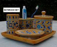 Bathroom set of Blue Pottery handicrafts