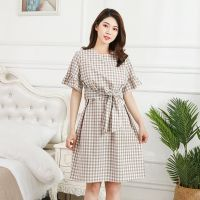 Summer Cotton Shortsleeve Pregnant Women Shirt Dress Breastfeeding Plaid Nursing dresses Pregnancy Clothes Loose Maternity Dress