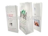 8lb Side Gusset Flat Bottom White Kraft Paper Pharmacy Bags