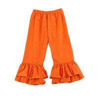 New arrival solid color ruffle baby girls pants for children wear