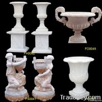Marble Flower Pot, Carved Marble Flowerpot