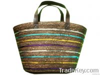 Sell Wheat Straw Women Bag With Leather Handle