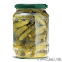 Gherkins -Pickled Cucumbers in Glass Jar
