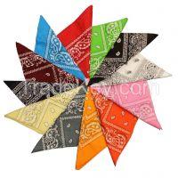 Custom Promotional Paisley printed Square Cotton Bandana Wholesale