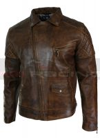 Mens Vintage Distressed Brown Real Leather Biker Jacket Cross Zip Retro All Size