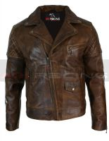 Mens Vintage Distressed Brown Real Leather Biker Jacket Cross Zip Retro All Size