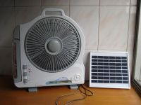 "Solar Rechargeable Fan with LED Light(12""-I)"