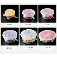 100% food grade free reusable flexible 6 Pcs silicone stretch lids