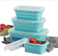 Food Grade Reusable Square Silicone Collapsible Bento Food Storage Lunch Box With Lid Set of 4