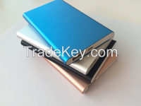 4000mAh ultrathin power bank with metal case for iPhone, iPad, Samsung galaxy, note , anroid smartphone, PDA