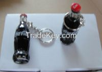 Coca-Cola miniature glass bottle with keychiain