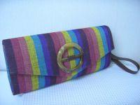 Stripe Cotton Clutch
