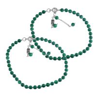 Malachite Gemstone 925 Sterling Silver Anklet PG-111545