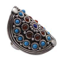 Turquoise, Lapis Lazuli & Carnelian Gemstone 925 Sterling Silver Ring Sz 7.25 PG-102990