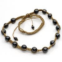 Hematite Gemstone Adjustable Thread Necklace PG-108326