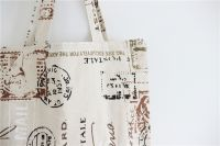 Printed Post Chapter Pattern Cotton Linen Shopping Bag Shoulder Bags