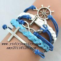 Hot sale,infinity vintage fashion multilayer leather bracelet