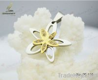 2-tone beauty diamond floral flower star gold plated&silver layered pe