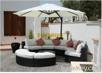 Weave rattan round sofa sectionals