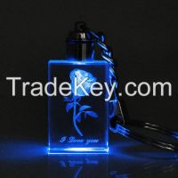 crystal keychain.3D laser  crtystal gift  promotional gift